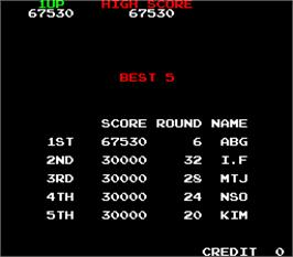 High Score Screen for Bubble Bobble.