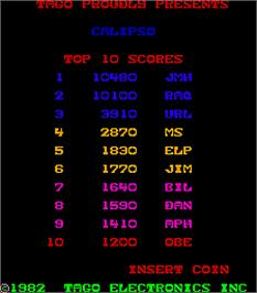 High Score Screen for Calipso.