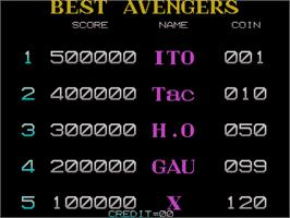 High Score Screen for Captain America and The Avengers.