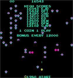 High Score Screen for Centipede.