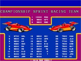 High Score Screen for Championship Sprint.