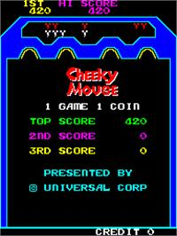 High Score Screen for Cheeky Mouse.