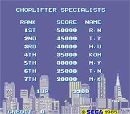 High Score Screen for Choplifter.