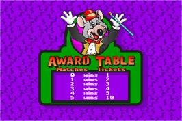 High Score Screen for ChuckECheese's Match Game.