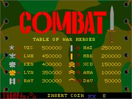 High Score Screen for Combat.