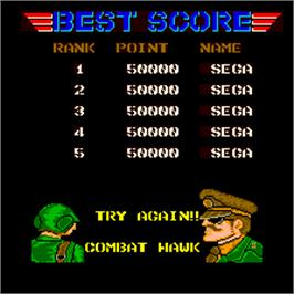 High Score Screen for Combat Hawk.