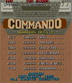 High Score Screen for Commando.