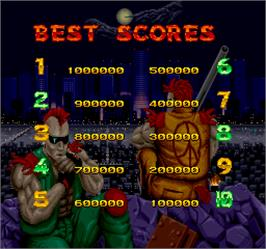 High Score Screen for Crude Buster.