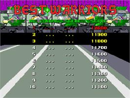 High Score Screen for Cycle Warriors.