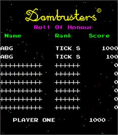High Score Screen for Dambusters.