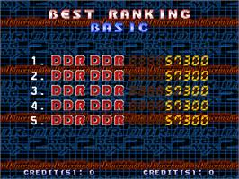 High Score Screen for Dance Dance Revolution 2nd Mix - Link Ver.