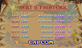 High Score Screen for Darkstalkers: The Night Warriors.