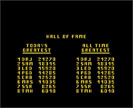 High Score Screen for Defence Command.