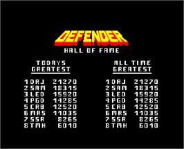 High Score Screen for Defender.