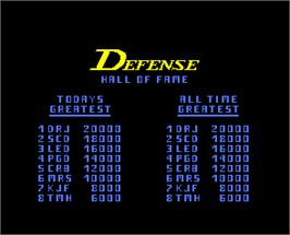 High Score Screen for Defense Command.