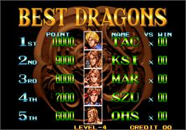 High Score Screen for Double Dragon.