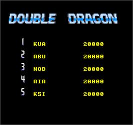 High Score Screen for Double Dragon II - The Revenge.