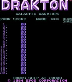 High Score Screen for Drakton.