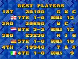 High Score Screen for Dream Soccer '94.