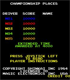 High Score Screen for Driving Force.