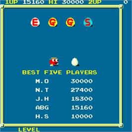 High Score Screen for Eggs.