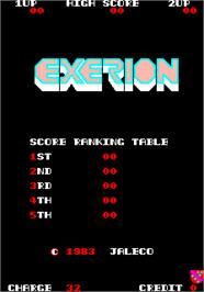 High Score Screen for Exerion.