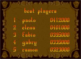 High Score Screen for Fantasy Land.
