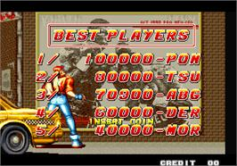 High Score Screen for Fatal Fury - King of Fighters / Garou Densetsu - shukumei no tatakai.