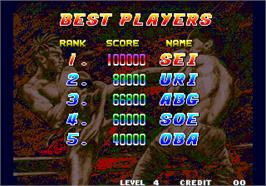 High Score Screen for Fatal Fury 2 / Garou Densetsu 2 - arata-naru tatakai.