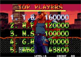High Score Screen for Fatal Fury 3 - Road to the Final Victory / Garou Densetsu 3 - haruka-naru tatakai.