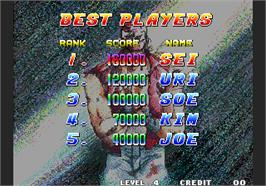 High Score Screen for Fatal Fury Special / Garou Densetsu Special.