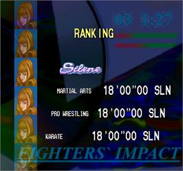 High Score Screen for Fighters' Impact.