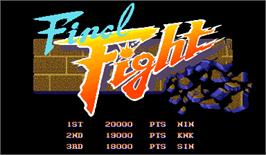 High Score Screen for Final Fight.