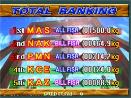 High Score Screen for Fisherman's Bait - Marlin Challenge.