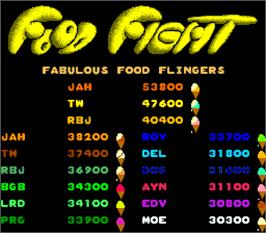 High Score Screen for Food Fight.