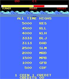 High Score Screen for Freeze.