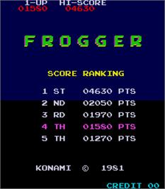 High Score Screen for Frogger.