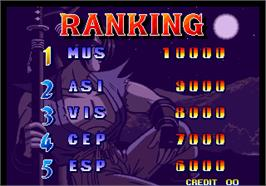 High Score Screen for Ganryu / Musashi Ganryuki.