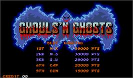 High Score Screen for Ghouls'n Ghosts.