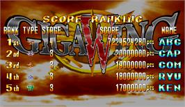 High Score Screen for Giga Wing.