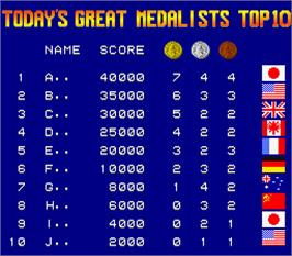 High Score Screen for Gold Medalist.
