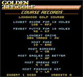 High Score Screen for Golden Tee Golf.