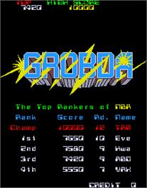 High Score Screen for Grobda.