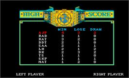 High Score Screen for Grudge Match.