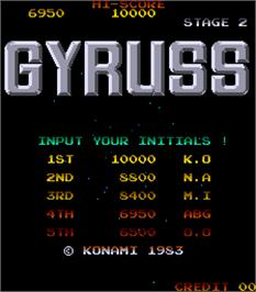 High Score Screen for Gyruss.