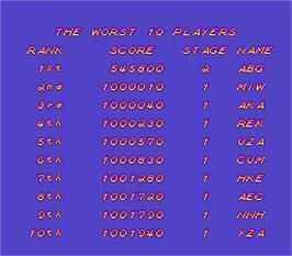 High Score Screen for Hacha Mecha Fighter.