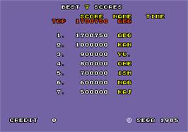 High Score Screen for Hang-On.