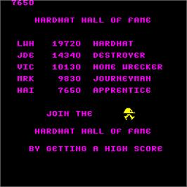 High Score Screen for Hard Hat.