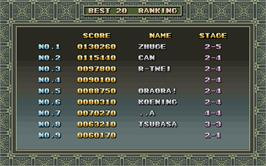 High Score Screen for Hasamu.