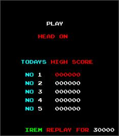 High Score Screen for Head On.